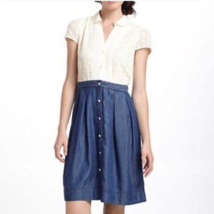 Anthropologie HD in Paris Lace & Chambray Dress 14